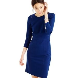 J.Crew Structured Knit Zip Dress Navy Blue 000